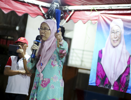 KUALA LUMPUR, MALAYSIA - MAY 01, 2018 : PKR President, Wan Azizah a candidate for Pakatan Harapan in Pandan Parliament (P100) addresses supporters during a campaign ahead of 14th general election.