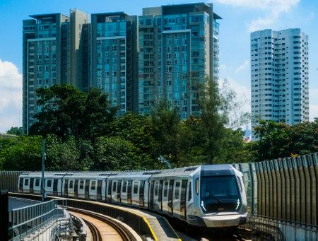 KUALA LUMPUR, MALAYSIA : OCTOBER 25, 2018 : Malaysia Mass Rapid Transit (MRT) train. MRT alleviate the severe traffic congestion in the KL metropolitan area. Editorial