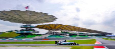 SEPANG, MALAYSIA - SEPTEMBER 29, 2017 : Lewis Hamilton of Great Britain driving the (44) Mercedes AMG Petronas on track during the Malaysia Formula One (F1) Grand Prix at Sepang International Circuit.