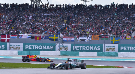 SEPANG, MALAYSIA : OCTOBER 01, 2017 : Lewis Hamilton of Great Britain driving the (44) Mercedes AMG Petronas F1 Team on track during the Malaysia Formula One (F1) Grand Prix at Sepang International Ci