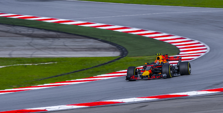 SEPANG, MALAYSIA - SEPTEMBER 30, 2017 : Max Verstappen of the Netherlands driving the (33) Red Bull Racing on track during the Malaysia Formula One (F1) Grand Prix at Sepang International Circuit.