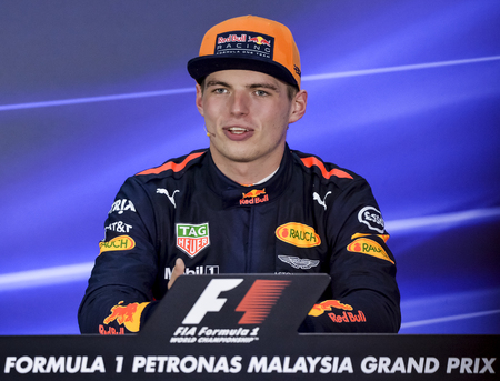 SEPANG, MALAYSIA : OCTOBER 01, 2017 : Max Verstappen of the Netherlands and Red Bull Racing talks in the post race press conference during the Malaysia Formula One (F1) Grand Prix at Sepang Internatio 報道画像