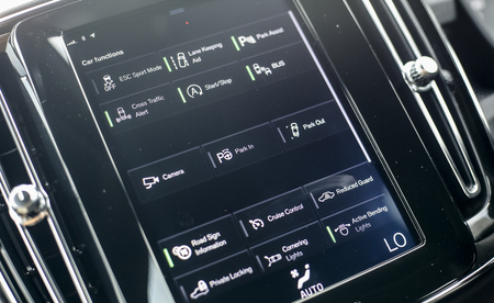 KUALA LUMPUR, MALAYSIA - MARCH 22, 2019 : View of centre touch screen panel for control car system function from driver seat & interior of Volvo XC40, compact Sport Utility Vehicle (SUV).