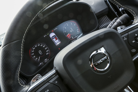 KUALA LUMPUR, MALAYSIA - MARCH 22, 2019 : View of smart digital meter panel from driver seat. Interior of Volvo XC40, compact Sport Utility Vehicle (SUV).