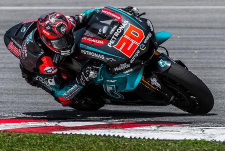 SEPANG, MALAYSIA - FEBRUARY 06, 2019 : Fabio Quartararo of France and Petronas Yamaha SRT during the MotoGP Test at Sepang International Circuit (SIC).