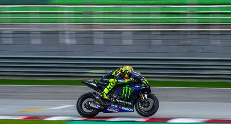 SEPANG, MALAYSIA - FEBRUARY 06, 2019 : Valentino Rossi of Italy and Yamaha Factory Racing during the MotoGP Tests (Winter Test) at Sepang International Circuit (SIC).
