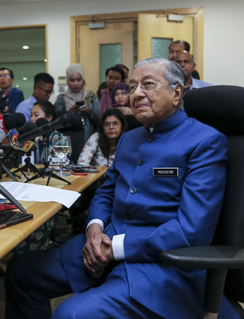 KUALA LUMPUR, MALAYSIA - APRIL 19, 2019 : Malaysias Prime Minister, Mahathir Mohamad. Malaysian politician currently serving as the Prime Minister of Malaysia for the second time at age 93 years.