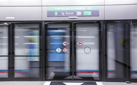 KUALA LUMPUR, MALAYSIA : AUGUST 01, 2017 : Tun Razak Exchange MRT station. Mass Rapid Transit (MRT) alleviate the severe traffic congestion in the KL metropolitan area.