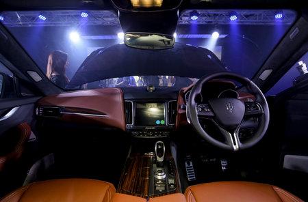 KUALA LUMPUR, MALAYSIA - NOVEMBER 24, 2017 : Interior of Maserati Levante S GranLusso Sport Utility Vehicle (SUV).