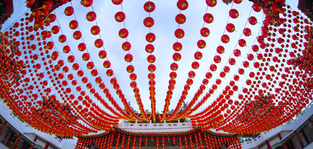 Decoration of red lantern at temple ahead of Chinese New Year celebration.