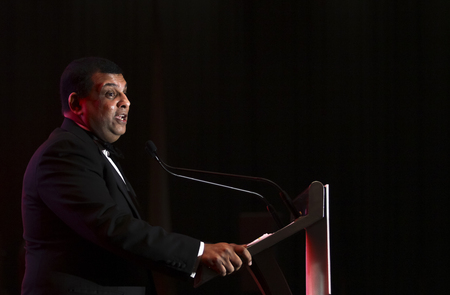 KUALA LUMPUR, MALAYSIA - JANUARY 17, 2018 : Founder and Group Chief Executive Officer (CEO) of AirAsia Berhad (AirAsia), Tan Sri Tony Fernandes delivered a speech during event at Kuala Lumpur.