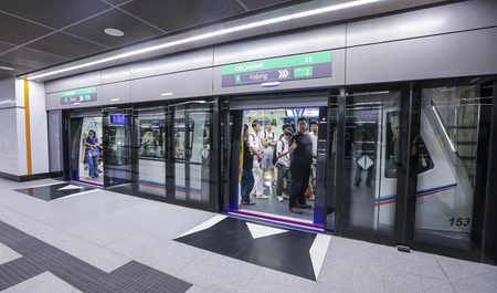 KUALA LUMPUR, MALAYSIA : AUGUST 01, 2017 : Cochrane MRT station. Mass Rapid Transit (MRT) alleviate the severe traffic congestion in the KL metropolitan area.