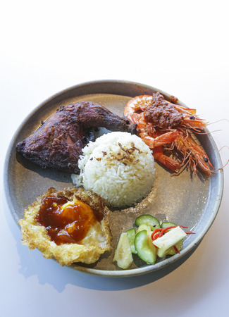 Asian food served on white background, top view. Rice with chicken, prawn & chili condiments, egg, and vegetable.