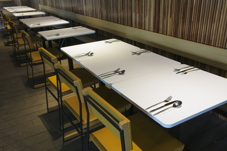 Tables and chairs in modern restaurant  cafe. Stok Fotoğraf