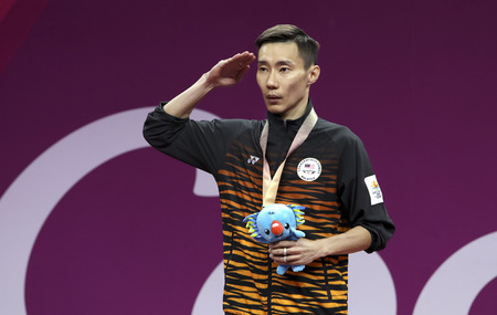 GOLD COAST, AUSTRALIA - APRIL 15, 2018 : Gold medalist Lee Chong Wei of Malaysia in the mens singles during Gold Coast 2018 Commonwealth Games at Carrara Sports and Leisure Centre.