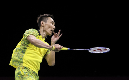 GOLD COAST, AUSTRALIA - APRIL 15, 2018 : Lee Chong Wei of Malaysia competes against Srikanth Kidambi of India during the mens singles final match Gold Coast 2018 Commonwealth Games at Carrara.