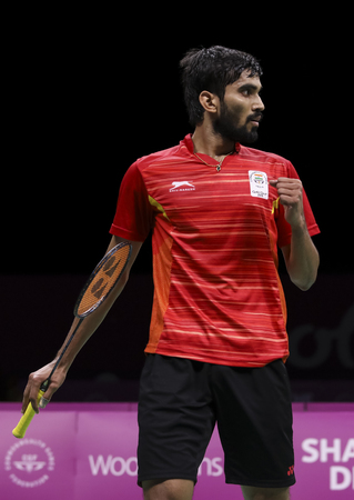 GOLD COAST, AUSTRALIA - APRIL 15, 2018 : Srikanth Kidambi of India reacts while playing against Lee Chong Wei of Malaysia during the men's singles final match Gold Coast 2018 Commonwealth Games. Editorial