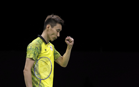 GOLD COAST, AUSTRALIA - APRIL 15, 2018 : Lee Chong Wei of Malaysia reacts while playing against Srikanth Kidambi of India during the mens singles final match Gold Coast 2018 Commonwealth Games.