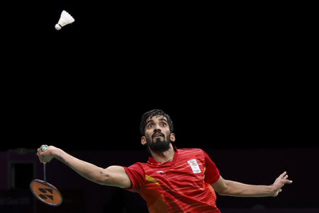 GOLD COAST, AUSTRALIA - APRIL 15, 2018 : Srikanth Kidambi of India competes against Lee Chong Wei of Malaysia during the mens singles final match Gold Coast 2018 Commonwealth Games at Carrara.