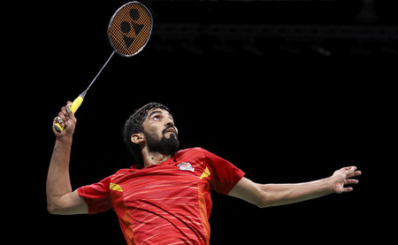 GOLD COAST, AUSTRALIA - APRIL 15, 2018 : Srikanth Kidambi of India competes against Lee Chong Wei of Malaysia during the men's singles final match Gold Coast 2018 Commonwealth Games at Carrara. Editorial