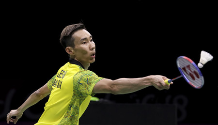GOLD COAST, AUSTRALIA - APRIL 15, 2018 : Lee Chong Wei of Malaysia competes against Srikanth Kidambi of India during the men's singles final match Gold Coast 2018 Commonwealth Games at Carrara. Editorial