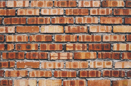 Old red brick wall texture background. Vintage style Stok Fotoğraf