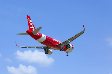 SEPANG, MALAYSIA - FEBRUARY 08, 2019 : Air Asia Low Cost Airlines aircraft. AirAsia Group operates scheduled domestic and international flights to more than 165 destinations spanning 25 countries.