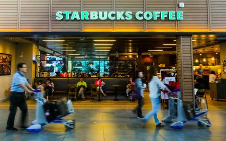 KUALA LUMPUR, MALAYSIA - MARCH 20, 2018 : Starbucks store at Kuala Lumpur International Airport 2 (KLIA2). Starbucks Corporation is an American coffee company and coffeehouse chain.