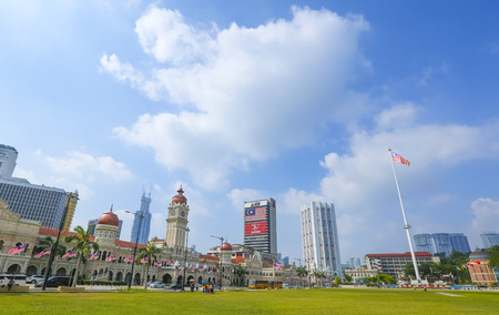 KUALA LUMPUR, MALAYSIA - AUGUST 13, 2019 : The iconic Sultan Abdul Samad building at Dataran Merdeka is one of the cityÕs most important tourist attractions and a historical landmark.