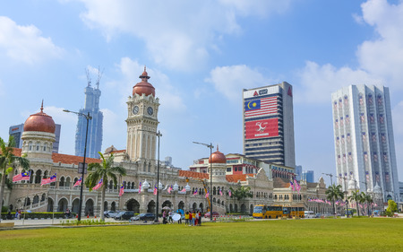 KUALA LUMPUR, MALAYSIA - AUGUST 13, 2019 : The iconic Sultan Abdul Samad building at Dataran Merdeka is one of the citys most important tourist attractions and a historical landmark.