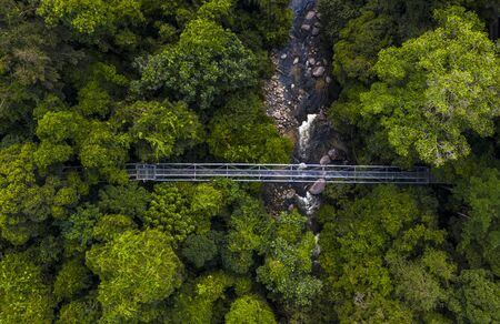 Aerial view of Tree Top Walk Sungai Sedim. This 925 metres length and 26 metres height rainforest canopy walk located in the northern part of Peninsular Malaysia at Kulim Kedah.