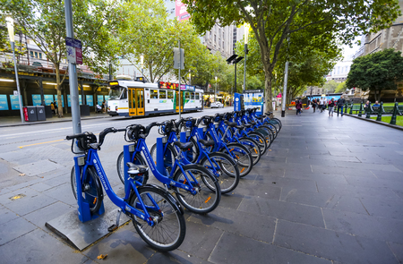 MELBOURNE, AUSTRALIA - MARCH 15, 2018 : Melbourne Bike Share, the famous bicycles sharing for hire and explore the city.