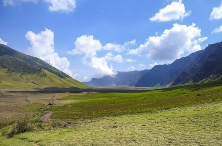 The beautiful scenery of Mount Bromo National Park. Mount Bromo is an active volcano and one of the most visited tourist attractions in East Java, Indonesia.