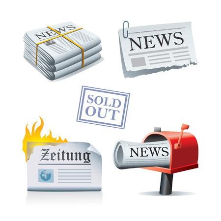 Icone di notizie Vettoriali
