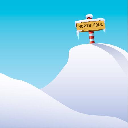 north pole sign: North Pole Illustration