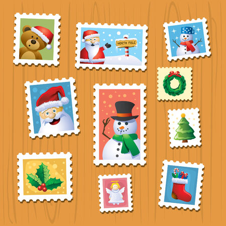 teddy wreath: Christmas Stamps