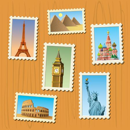 postal stamp: Travel destinations