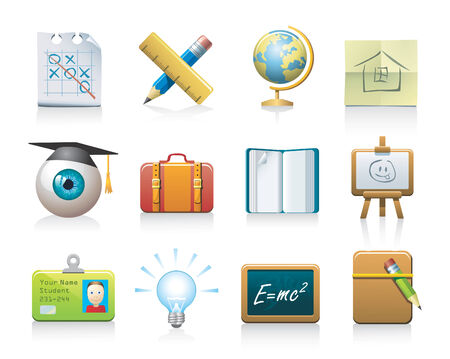 school icons: school icons  Illustration