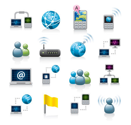 wireless internet: networking icons Illustration