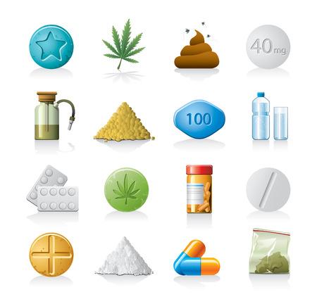 droga: set di icone di droga Vettoriali