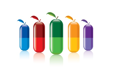 vitamins pills: color pills