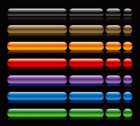 bouton brillant: boutons de vecteur de papier glac�