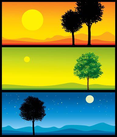 dia y noche: ilustraciones de paisaje