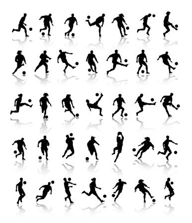 voetbal silhouet: voetbal silhouetten
