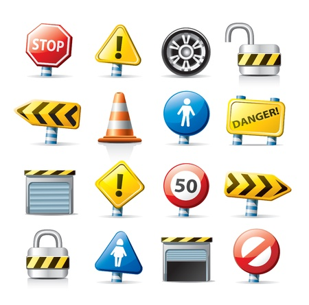 panneaux danger: ic�nes de Web - panneaux de signalisation