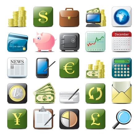 빚: 금융 아이콘을 설정합니다 일러스트