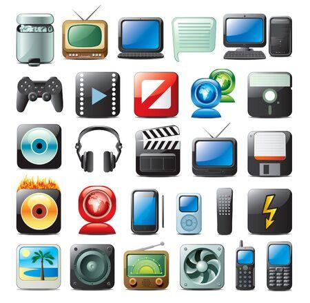 portable radio: los iconos de multimedia Vectores