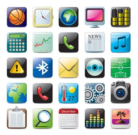 multimedia icon set  イラスト・ベクター素材
