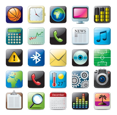application icon: multimedia icon set Illustration