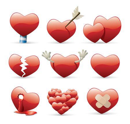 heart broken: heart icon set